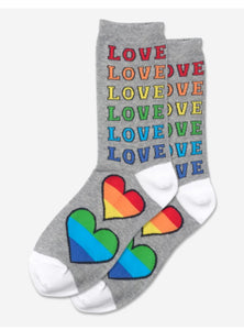 Women's Rainbow Love Crew Socks/Grey Heather