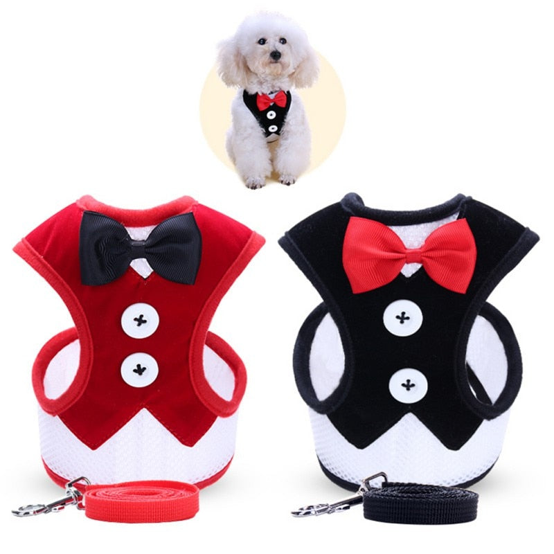 Pet Traction Harness Dress Bow Vest