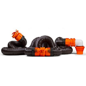 RhinoFLEX 20' Sewer Hose Kit w / 4N1,Elbow, Caps