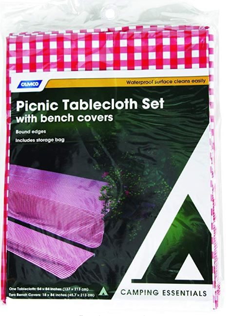 Table Cloth Set with Table and Bench Covers (Red/White)