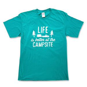 LIFE IS BETTER AT THE CAMPSITE SHIRT-  TEAL XXL