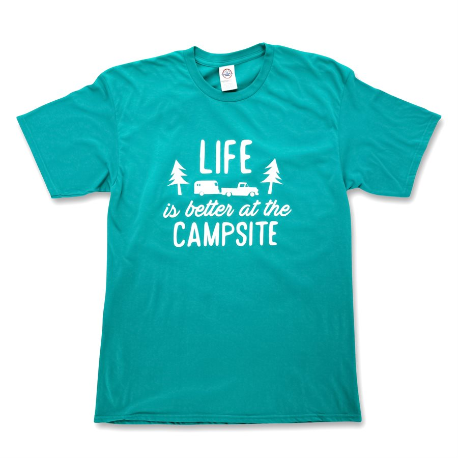 LIFE IS BETTER AT THE CAMPSITE SHIRT-  TEAL XL