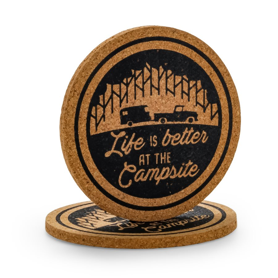 Life is Better at the Campsite- Cork Coasters-Truck+Trailer Pattern