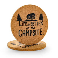 Life is Better at the Campsite- Cork Coasters- Camper Pattern