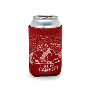 Life is Better at The Campsite Burgundy Can Cooler