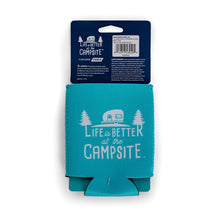 Load image into Gallery viewer, Life is Better at The Campsite Teal Can Cooler