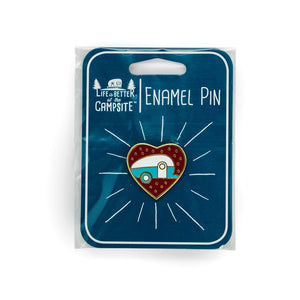 Life is Better at the Campsite Red Heart Teardrop Enamel Pin