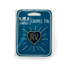 Load image into Gallery viewer, Life is Better at the Campsite Navy Blue RV Heart Enamel Pin