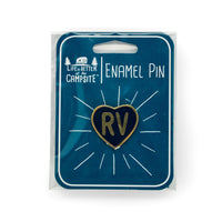 Life is Better at the Campsite Navy Blue RV Heart Enamel Pin