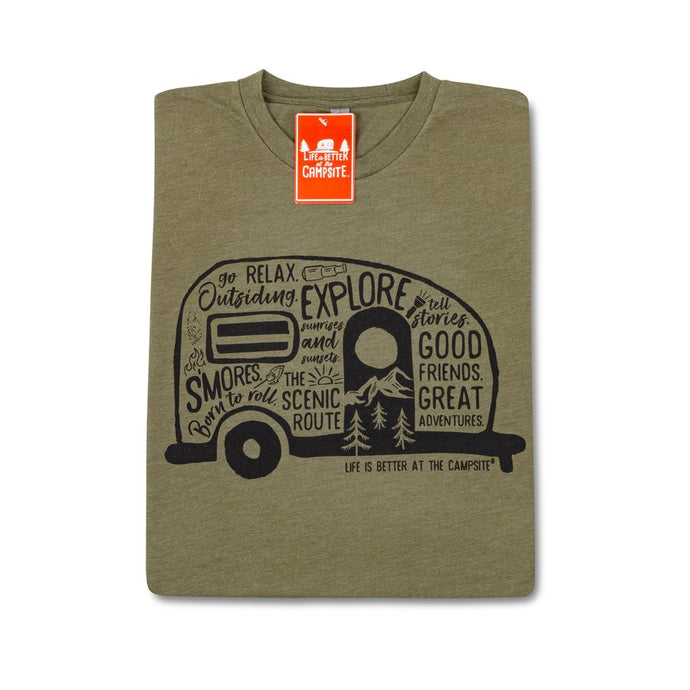 LIFE IS BETTER AT THE CAMPSITE SHIRT MILITARY GREEN GRAFFITI M