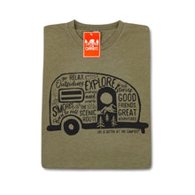 Load image into Gallery viewer, LIFE IS BETTER AT THE CAMPSITE SHIRT MILITARY GREEN GRAFFITI LARGE