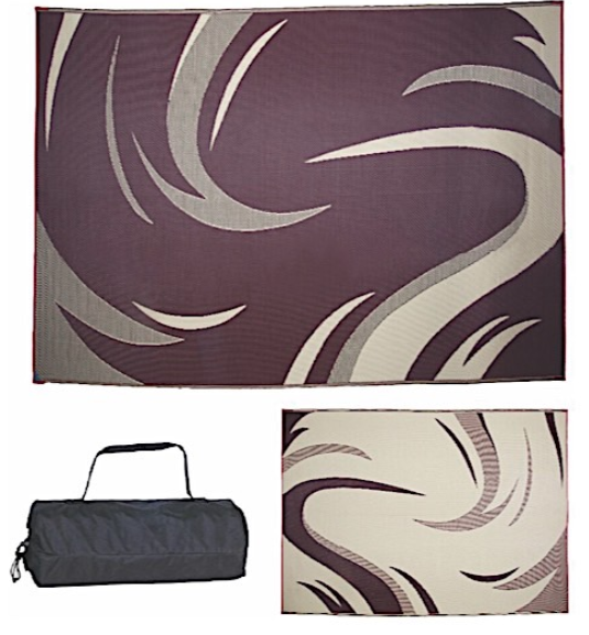 Reversible Patio Mat 8X11 Burgundy/ Tan