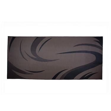 Ming's Mark Patio Mat- Black and Brown Swirl  8' X 18'