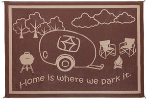 Ming's Mark Patio Mat- Home is Where We Park It  8' X 11'