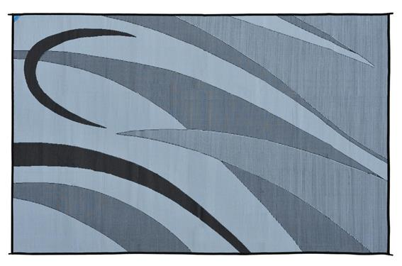 Ming's Mark Patio Mat- Black and Silver  8' X 12'