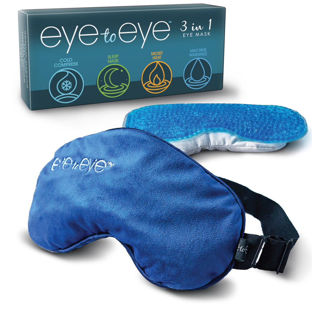 Eye to Eye's Moist Heat Eye Compress (1 Removable Case, 2 Unique Inserts) - Machine Washable, Longer Lasting Steam Heat, Odor Free, Cold or Hot Compress