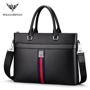 WILLIAM POLO Men Briefcase Leather Laptop Bag By: Victor Vanquish