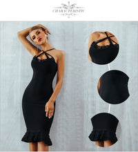 ADYCE Women Summer Black Lace Bandage Dress By: Vicki Vanquish
