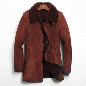 Denny&Dora Men's Leather Imported Lamb Wool Long Style Lapel Coat By: Victor Vanquish