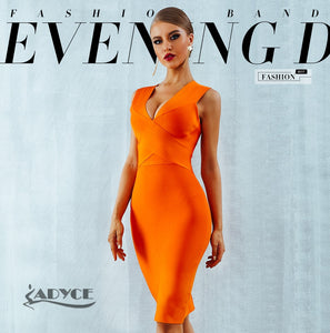ADYCE  Bandage V-Neck Sleeveless Dress By: Vicki Vanquish
