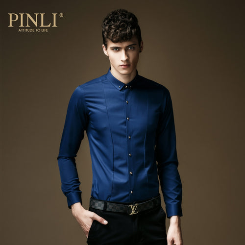 PINLI Baron Blue Micro Elastic Long Sleeved Shirt By: Victor Vanquish