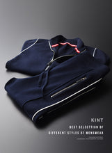 Minglu Cardigan Navy Blue 2-piece Zipper Sweatsuit By: Victor Vanquish