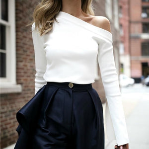 OXANT White Off Shoulder Slash Neck Causal By: Vicki Vanquish