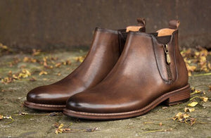 KRUSDAN Handmade Genuine Leather Ankle Boots By: Victor Vanquish