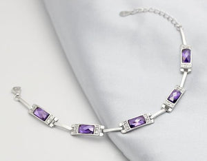 Zibaoni Austria Crystal & Amethyst 925 sterling silver bracelet By: Victor Vanquish