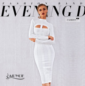 ADYCE White Long Sleeve Hollow Out Evening Party Dress By: Vicki Vanquish