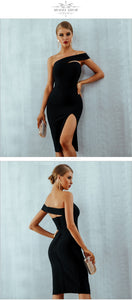 ADYCE  Black One Shoulder Slit Party Dress By: Vicki Vanquish