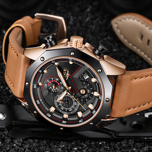 LIGE Luxury Quartz Leather Sports Watch By: Victor Vanquish