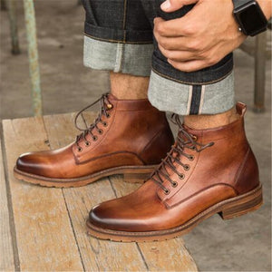 KRUSDAN Handmade  Genuine Leather Ankle Lace Up Boots By: Victor Vanquish