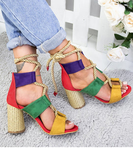 C. NEWS Lace Up High Heels Sandals By: Vicki Vanquish