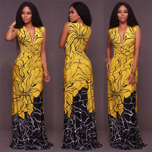 SROEKKY  Sexy Yellow Print Deep V-Neck Dress By: Vicki Vanquish