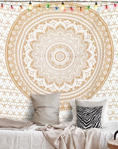 Golden Mandala Tapestry - windypebble