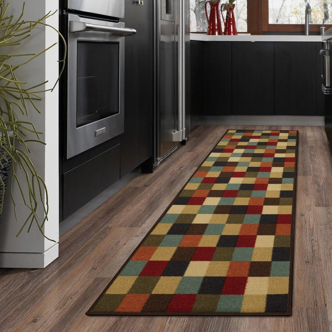 Contemporary Checkered Design Modern Runner Rug - windypebble