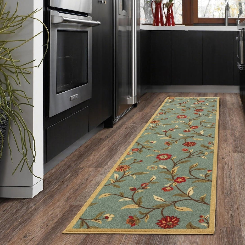 Sage Green Floral Runner Rug - windypebble