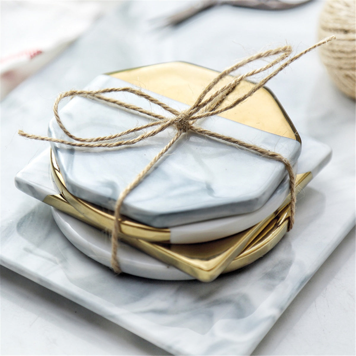 Gold & Marble Coasters - windypebble