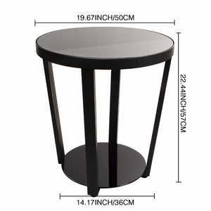 Black Tempered Glass Side Table - windypebble