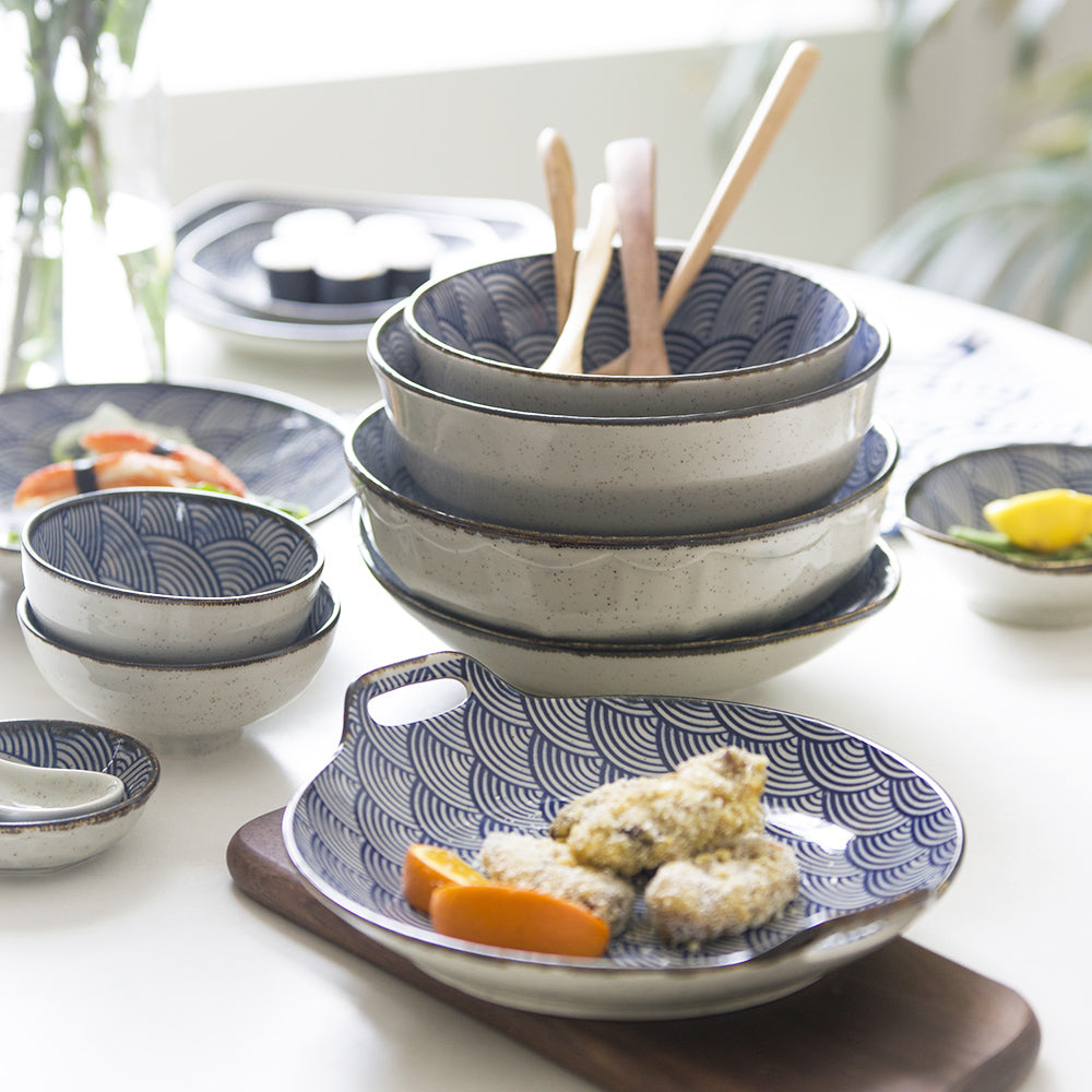 Japanese Wave Pattern Ceramic Dinnerware - windypebble