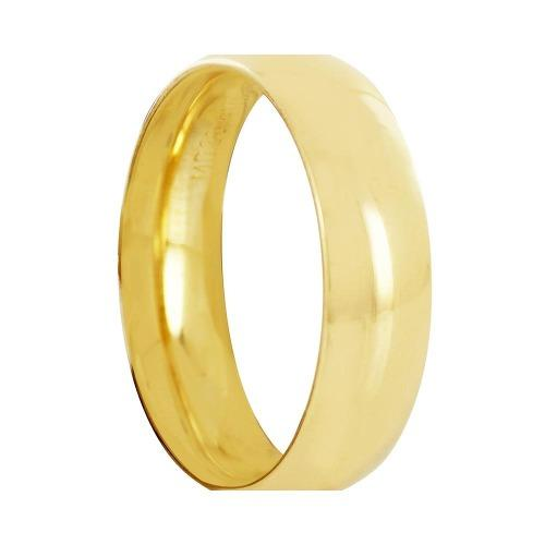 Argolla Matrimonial Oro 14k Lisas Media Caña 6mm
