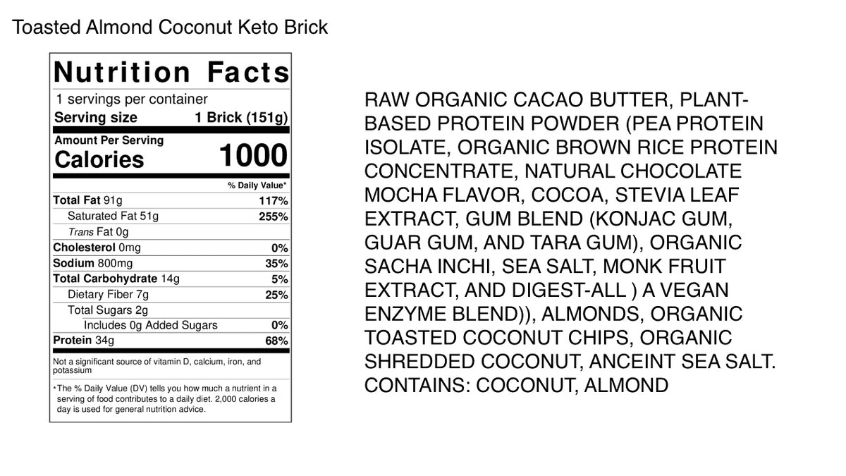 Toasted Almond Coconut Keto Brick