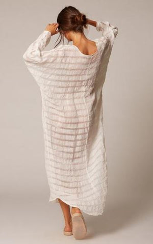Estilo Emporio Neve Dress - Natural White Stripe - LUXAMORE AUSTRALIA