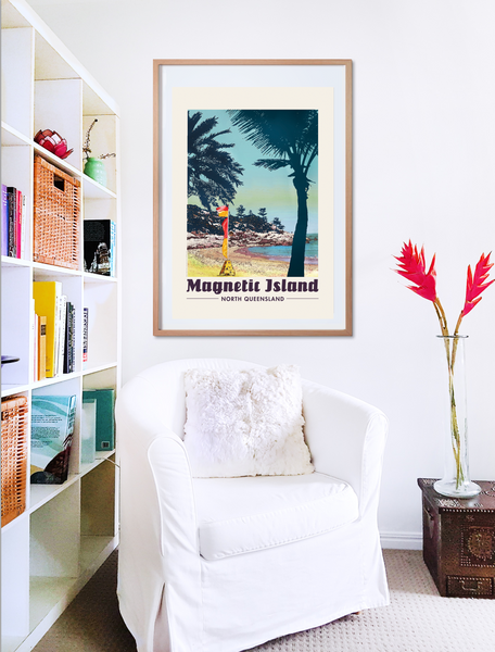 Alma Bay, Magnetic Island vintage poster print in wooden frame with armchair