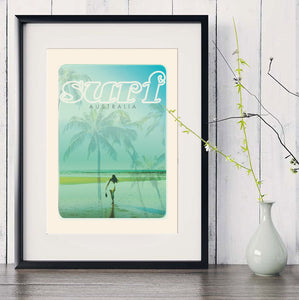 A3 Australia Surf Poster 'Beach Dreams Blue' in black frame