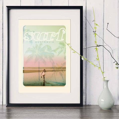 A3 Australia Surf Poster 'Beach Dreams' Pink in black frame