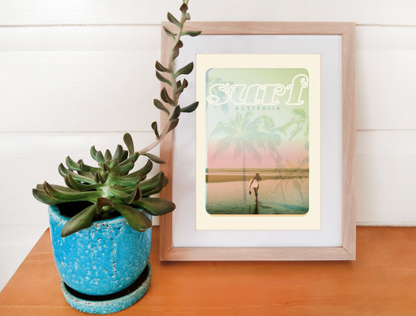 A4 Australia Surf Poster 'Beach Dreams' Pink in wooden frame