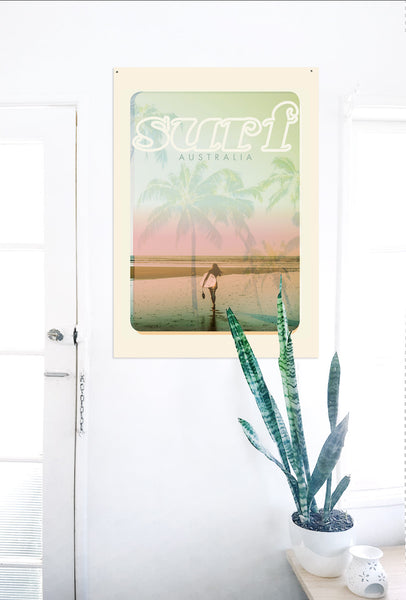 A2 Australia Surf Poster 'Beach Dreams' Pink on white wall