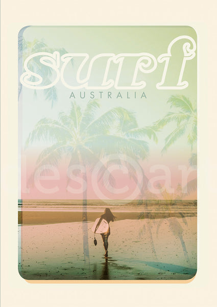 Australia Surf Poster 'Beach Dreams' Pink with watermark